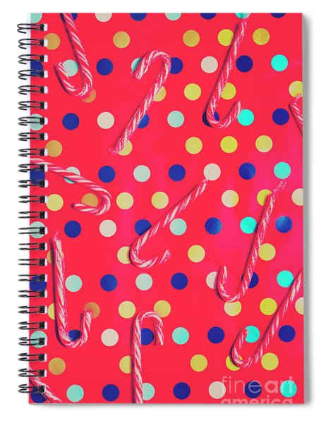 Colorful Pepermint Candy Canes Spiral Notebook