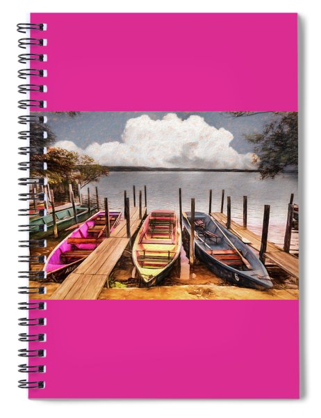 Colorful Rowboats At The Lake Pastels Oil Painting  Spiral Notebook