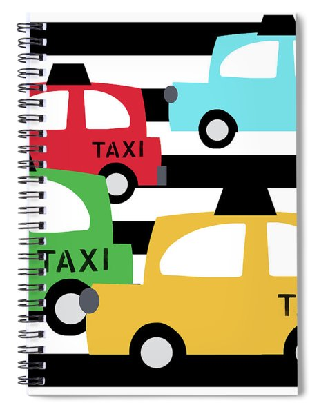 Colorful Taxis- Art By Linda Woods Spiral Notebook
