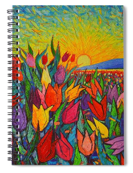 Colorful Tulips Field Sunrise - Abstract Impressionist Palette Knife Painting By Ana Maria Edulescu Spiral Notebook