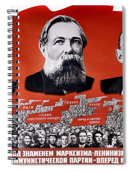 Communist Vintage Poster Showing Marx, Engels, And Lenin Spiral Notebook