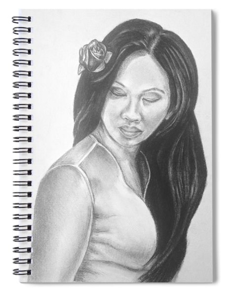 Long Hair Asian Lady With Rose In Sorrow Charcoal Drawing  Spiral Notebook