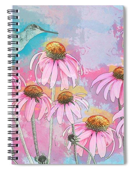 Coneflower Hummingbird Watercolor Spiral Notebook