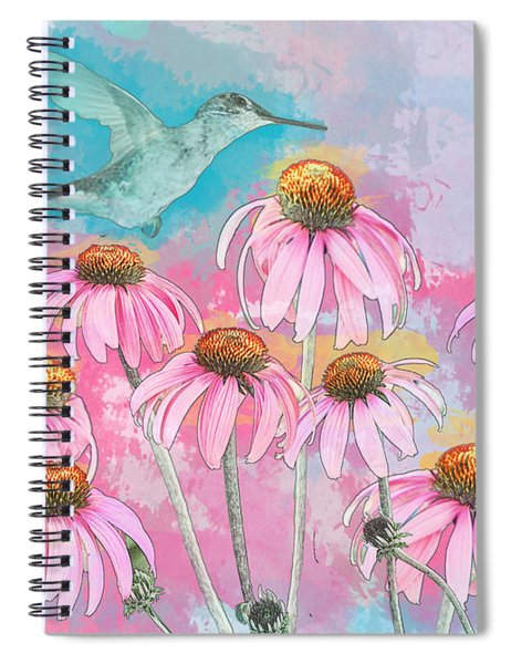 Spiral Notebook featuring the photograph Coneflower Hummingbird Watercolor by Patti Deters