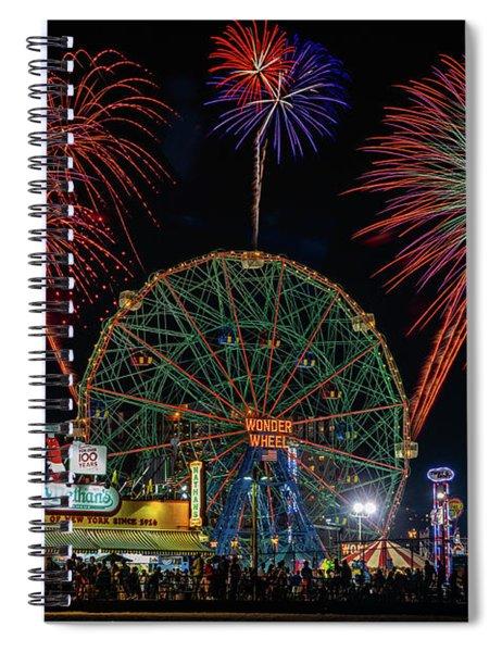 Coney Island At Night Fantasy Spiral Notebook