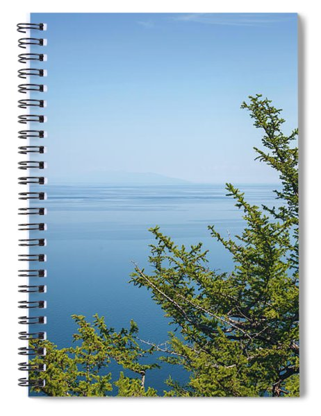 Coniferous Trees On Blue Sky Background Spiral Notebook