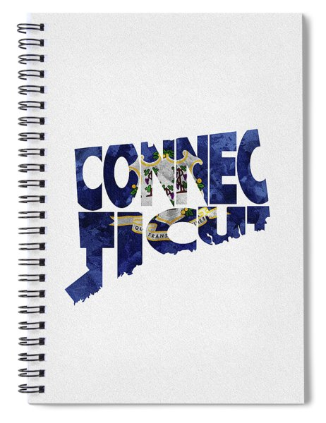 Connecticut Typographic Map Flag Spiral Notebook