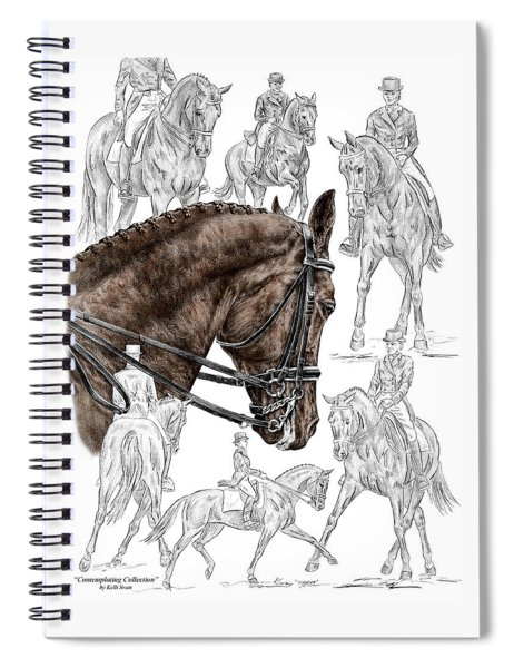 Contemplating Collection - Dressage Horse Print Color Tinted Spiral Notebook