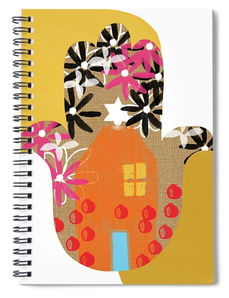 Contemporary Hamsa With House- Art By Linda Woods Spiral Notebook