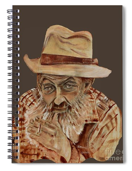 Spiral Notebook featuring the painting Coppershine Popcorn Bust - T-shirt Transparency by Jan Dappen