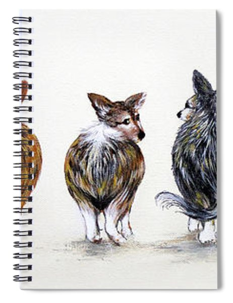 Corgi Butt Lineup With Chihuahua Spiral Notebook