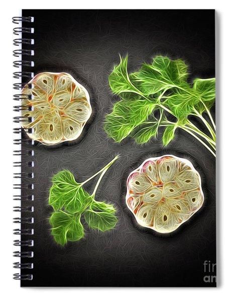 Coriander And Garlic Still Life. Spiral Notebook