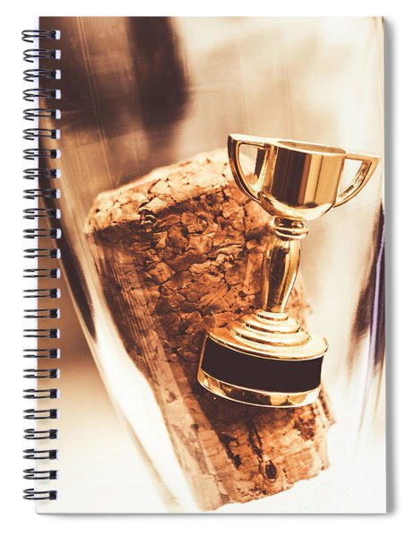 Cork And Trophy Floating In Champagne Flute Spiral Notebook