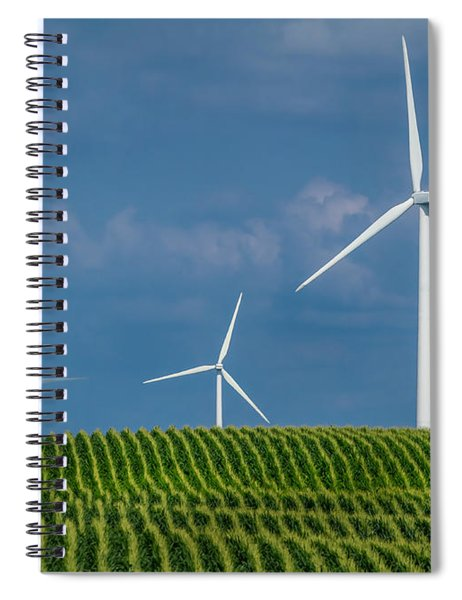 Corn Rows And Windmills Spiral Notebook