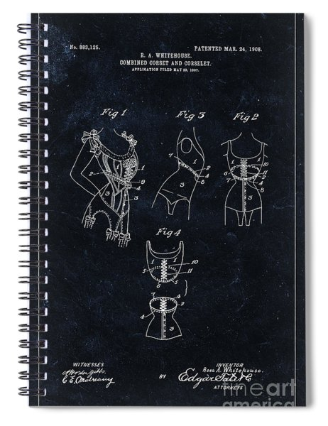Corset Patent From 1908 - Black Spiral Notebook