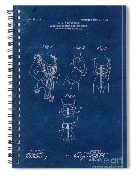 Corset Patent From 1908 - Blue Spiral Notebook