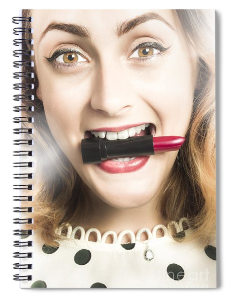 Cosmetic Pin Up With Lipstick Smile Spiral Notebook