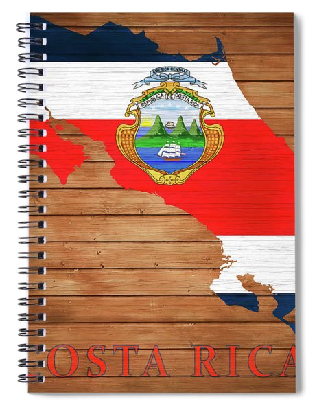 Costa Rica Rustic Map On Wood Spiral Notebook