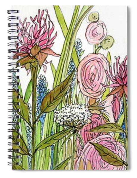 Cottage Hollyhock Garden Spiral Notebook