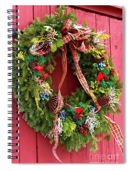 Country Christmas Wreath Spiral Notebook