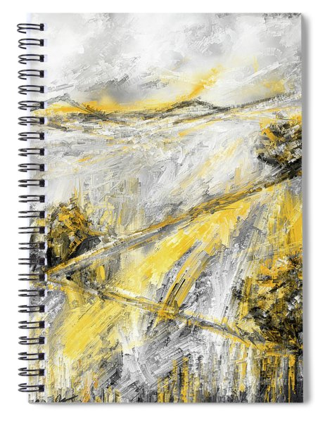 Country Glow - Yellow And Gray Modern Artwork Paintings Spiral Notebook