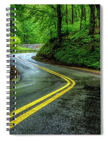 Country Road In Spring Rain Spiral Notebook