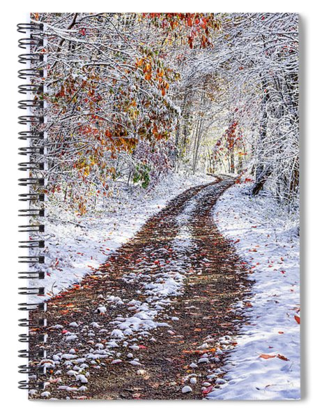 Country Road With Autumn Snow  Spiral Notebook