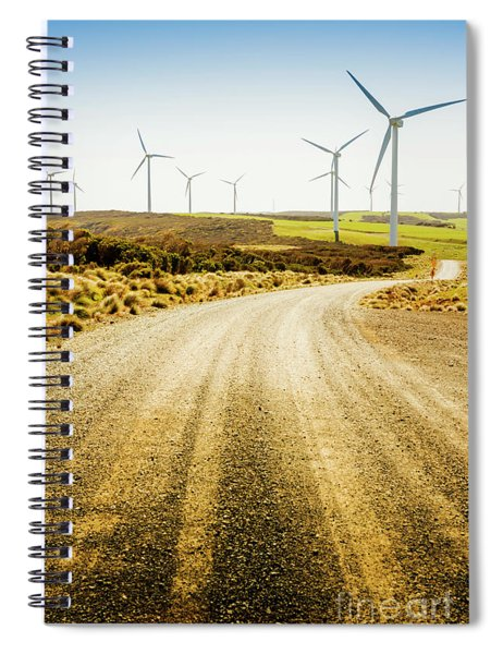 Country Roads And Scenic Windfarms Spiral Notebook