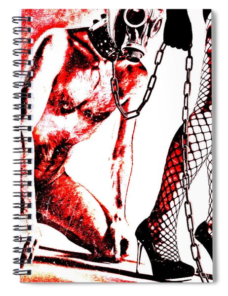 Couple Nude In Bdsm Play And Image Finished In Digital Dots Art  Spiral Notebook