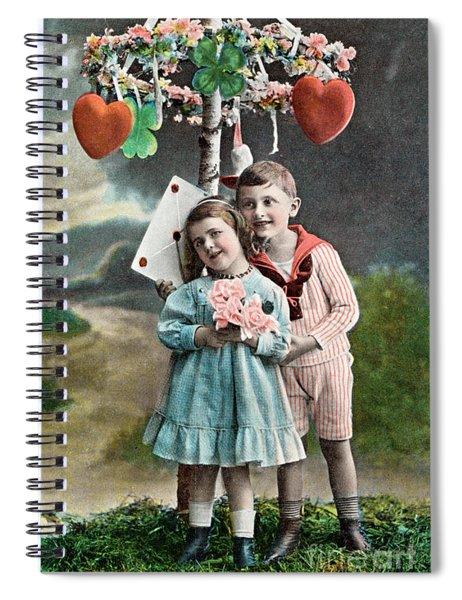 Couple Of Children - Valentine Vintage Poscard Spiral Notebook