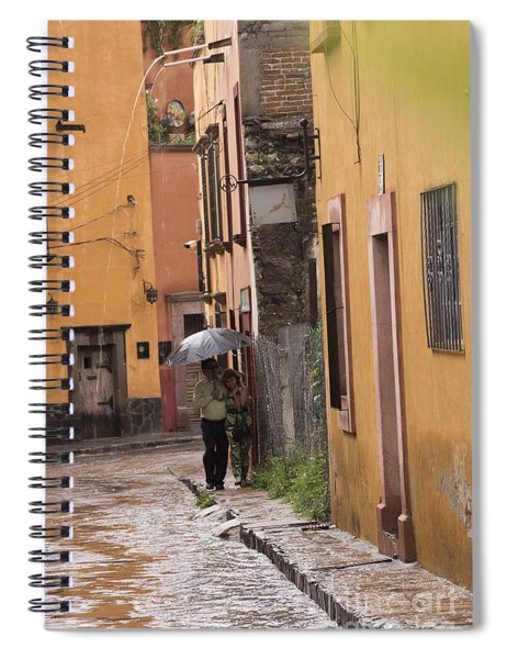 Couple Walking In The Rain Through Old San Miguel Mexico Spiral Notebook