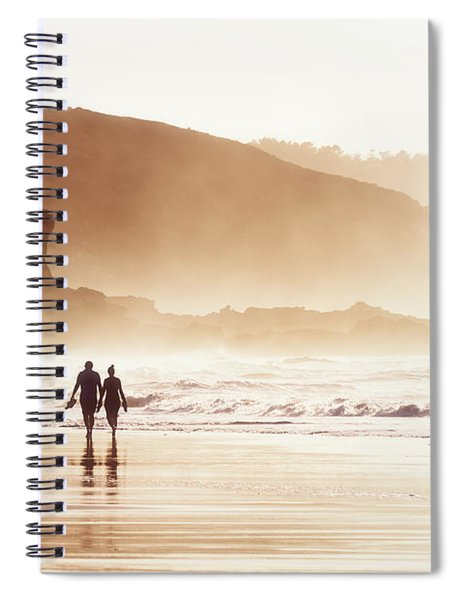 Couple Walking On Beach With Fog Spiral Notebook