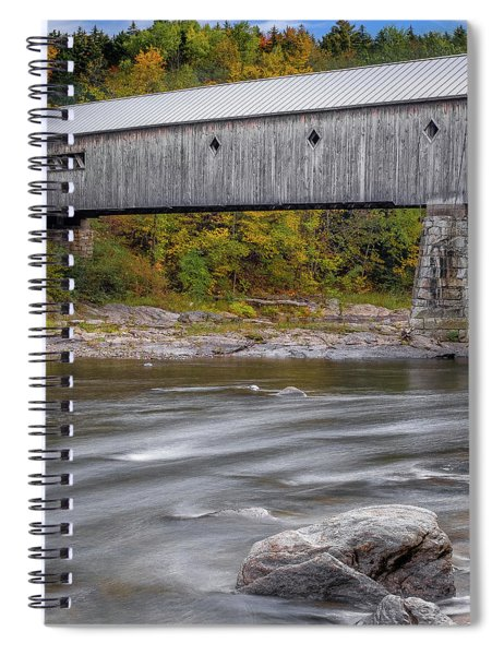 Spiral Notebook featuring the photograph Covered Bridge In Vermont With Fall Foliage by Robert Bellomy