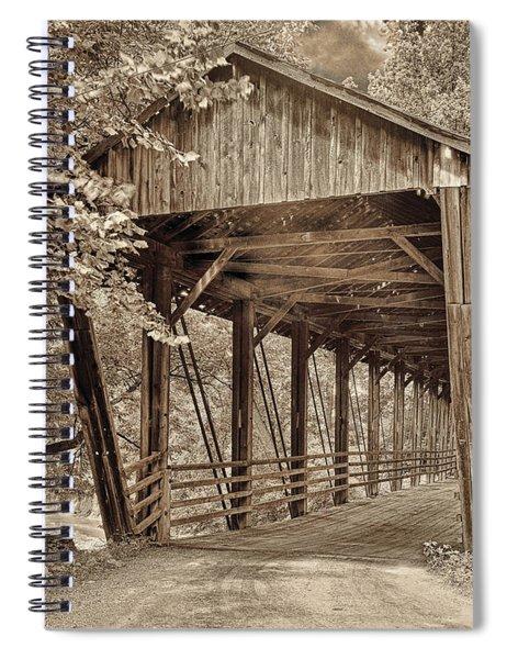 Covered Bridge  Sepia Tone Spiral Notebook