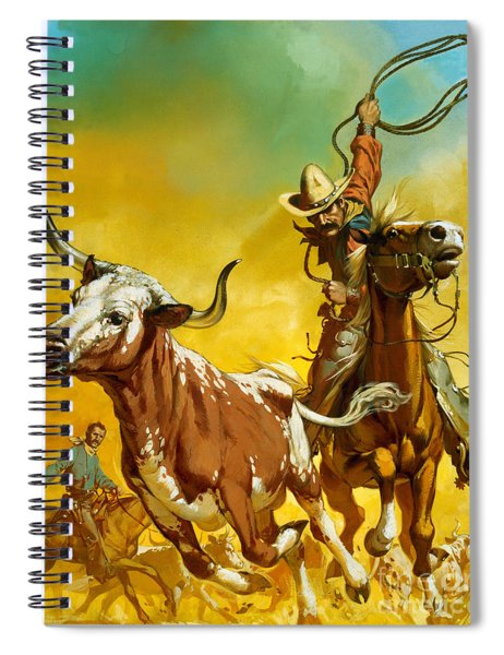 Cowboy Lassoing Cattle  Spiral Notebook