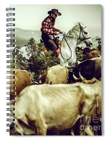 Cowboy On Cattle Round Spiral Notebook
