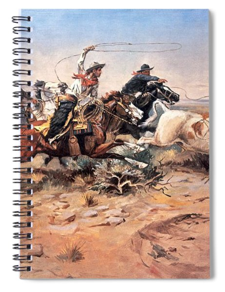 Cowboys Roping A Steer Spiral Notebook