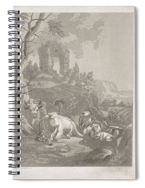 Cows, Goats And Sheep In A Mountainous Landscape With Ruin, Diederik Jan Singendonck, After Christia Spiral Notebook