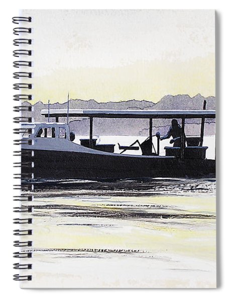 Spiral Notebook featuring the painting Crab Boat Slick Calm Day Chesapeake Bay Maryland by G Linsenmayer