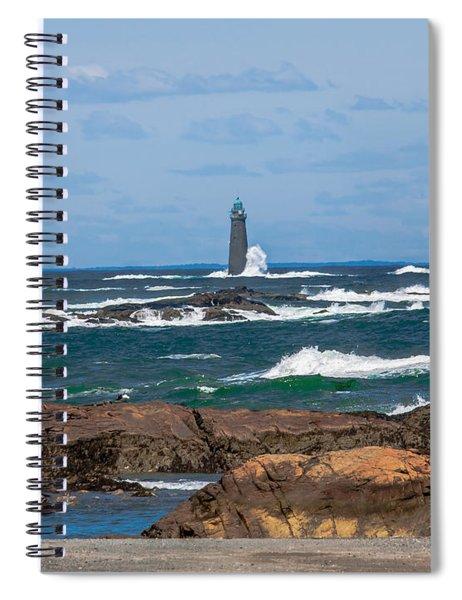 Crashing Waves On Minot Lighthouse  Spiral Notebook