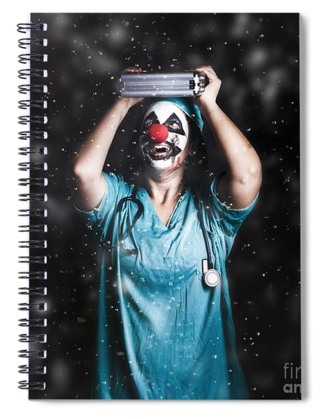 Crazy Doctor Clown Laughing In Rain Spiral Notebook