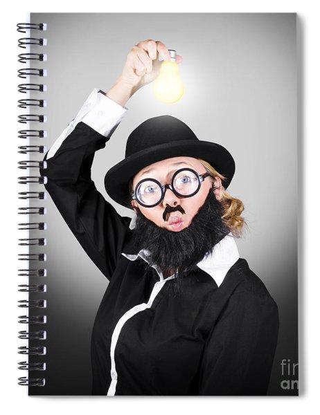 Creative Business Man Holding Light Bulb Spiral Notebook