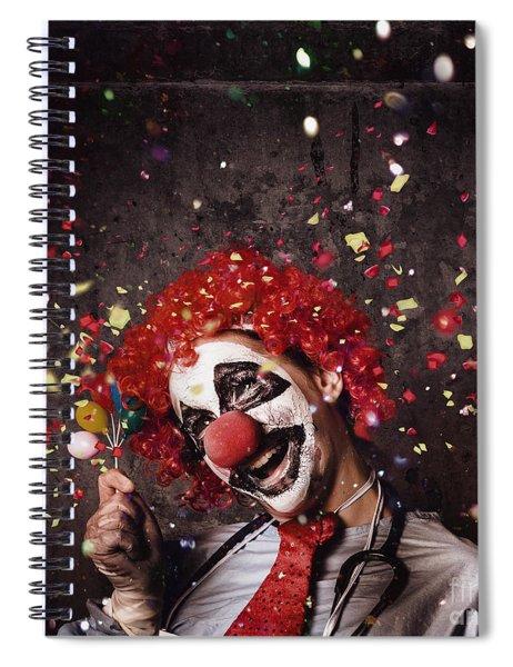 Creepy Birthday Clown At Party Celebration Spiral Notebook