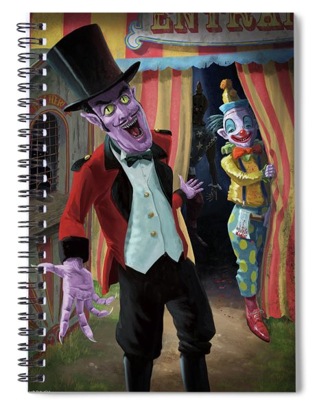 Spiral Notebook featuring the painting Creepy Circus by Martin Davey