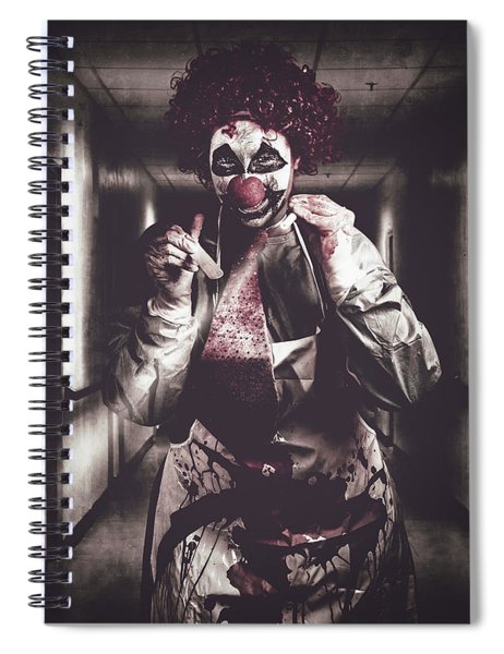 Creepy Medical Clown In Grunge Hospital Hallway Spiral Notebook