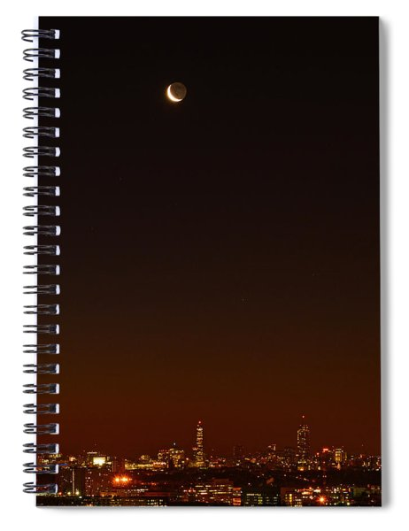 Crescent Moon Over Boston Spiral Notebook
