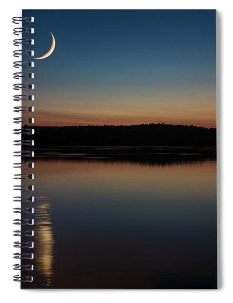 Crescent Moon Set At Lake Chesdin Spiral Notebook