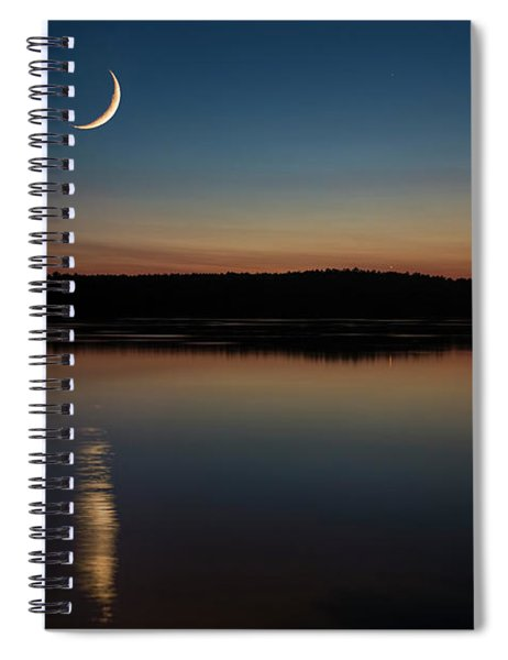 Crescent Moon Set At Lake Chesdin Spiral Notebook