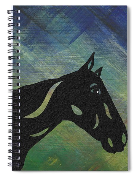 Spiral Notebook featuring the painting Crimson - Abstract Horse by Manuel Sueess