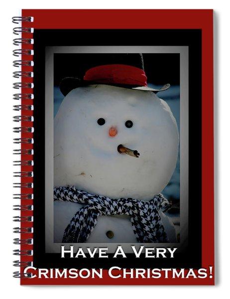 Crimson Christmas Snowman Spiral Notebook